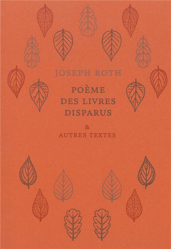 Poème des livres disparus et autres textes