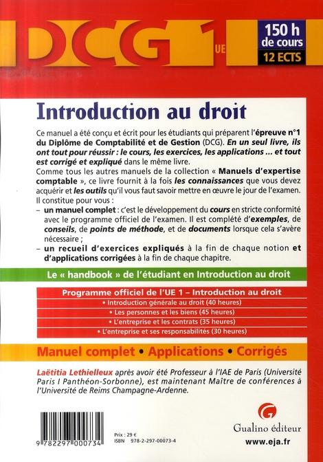 Manuels d'expertise comptable ; DCG 1 ; introduction au droit ; manuel complet, applications et corrigés