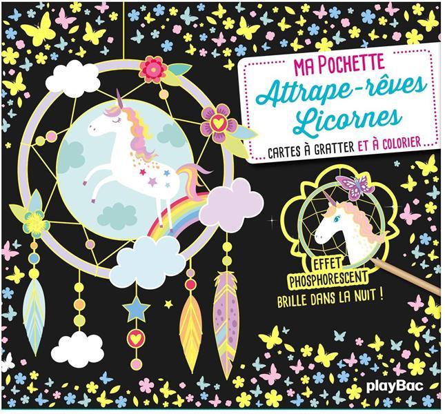 Ma pochette attrape-rêves licorne ; cartes à gratter et à colorier