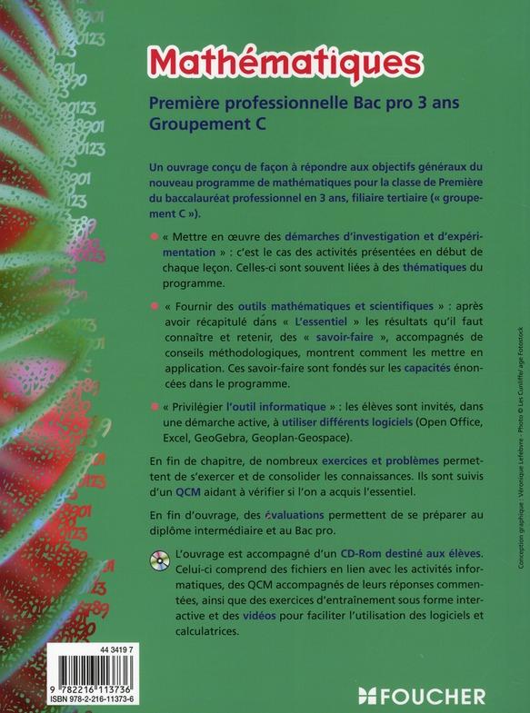 Mathématiques groupement C ; 1ère professionnelle ; bac pro tertiaires ; manuel