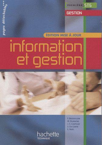 Information Et Gestion 1re Stg Gestion - Livre Eleve - Ed.2009