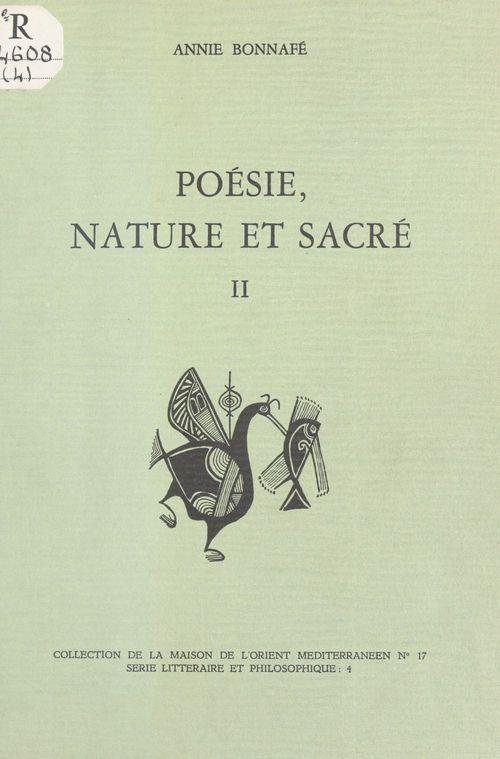 Poésie, nature et sacré (2) : L'Âge archaïque