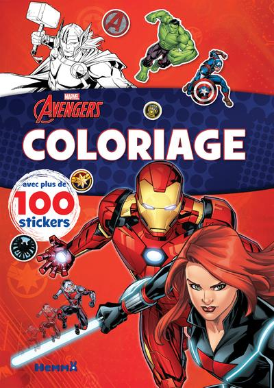 Avengers ; coloriage avec plus de 100 stickers : Black Widow et Iron Man