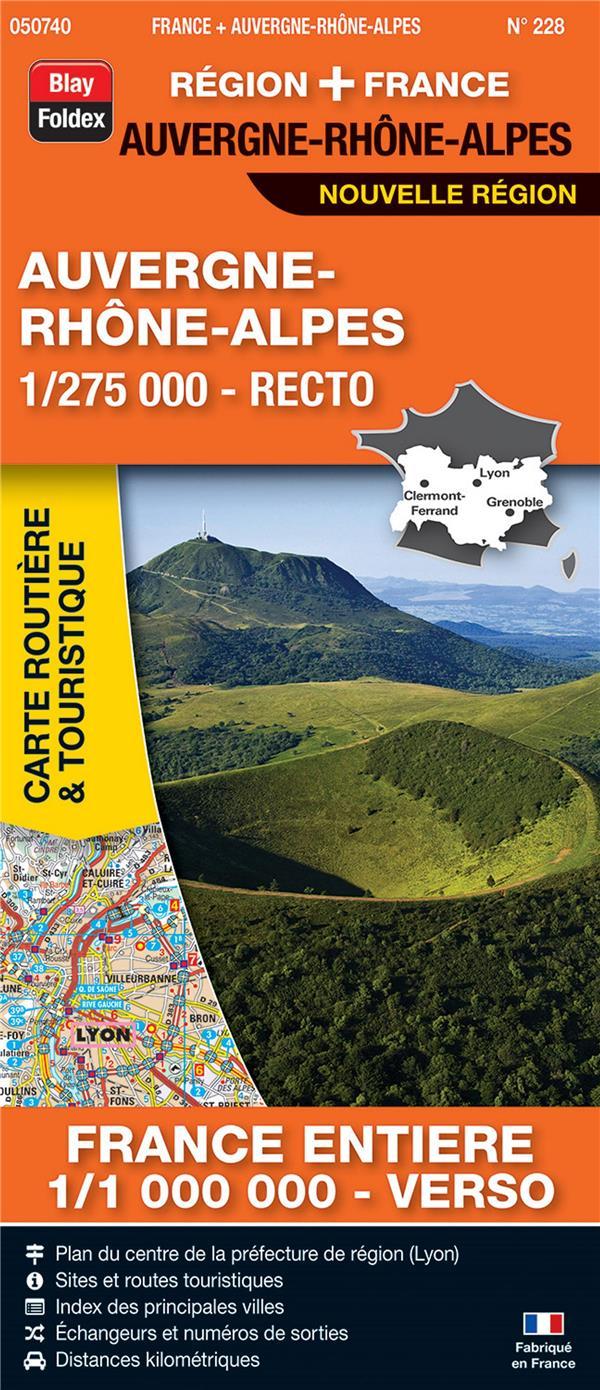 Carte routière & touristique N.228 ; Auvergne-Rhône-Alpes