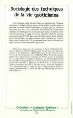 Sociologie des techniques de la vie quotidienne  - Victor Scardigli - Alain Gras - Bernard Joerges