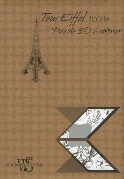 Tour Eiffel florale ; puzzle 3D à colorier