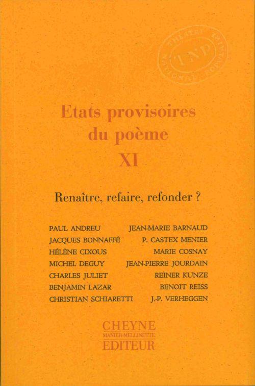 ETATS PROVISOIRES DU POEME XI