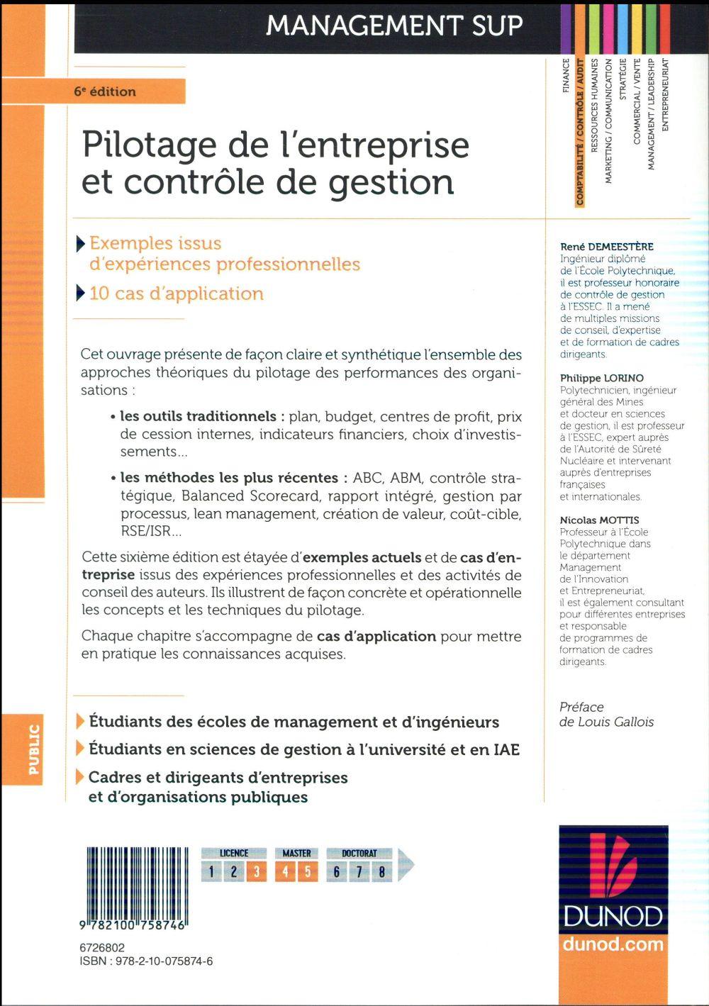 pilotage de l'entreprise et contrôle de gestion (6e édition)