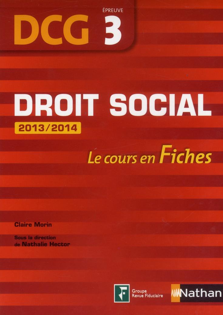Droit Social ; Dcg Epreuve 3 ; Le Cours En Fiches (Edition 2013)
