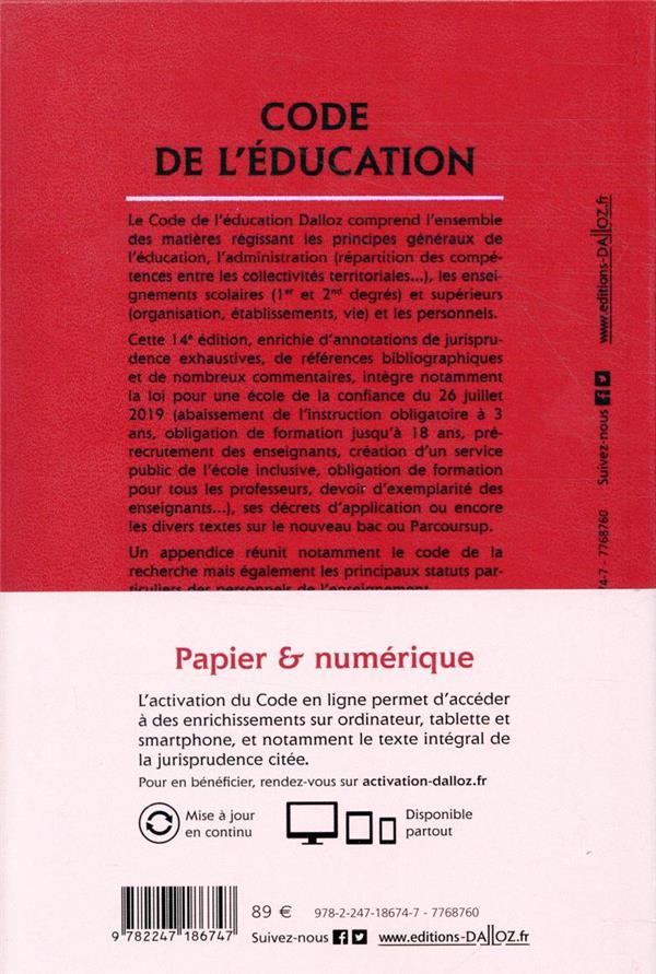 Code de l'éducation, annoté et commenté (édition 2020)