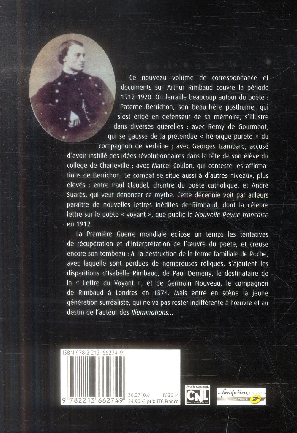 sur Arthur Rimbaud t.3 ; correspondance posthume, 1912-1921