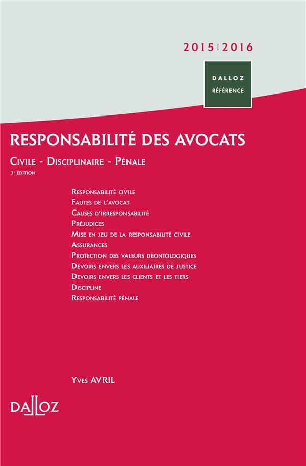 Responsabilité des avocats (3e édition)