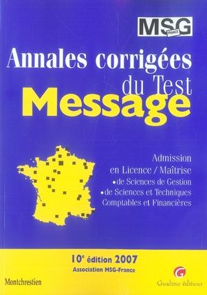Annales corrigées du test message (édition 2007)