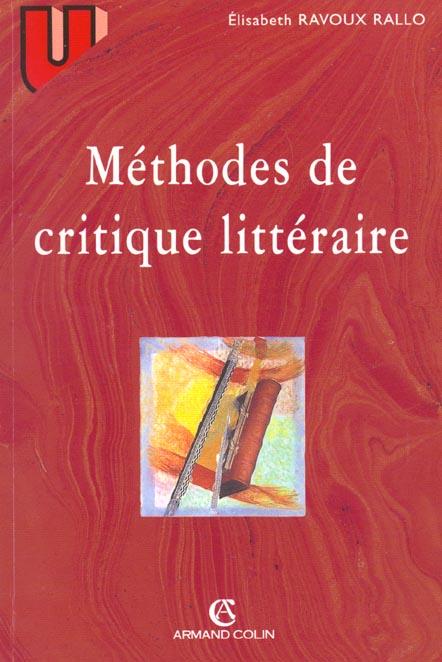 Methodes De Critique Litteraire