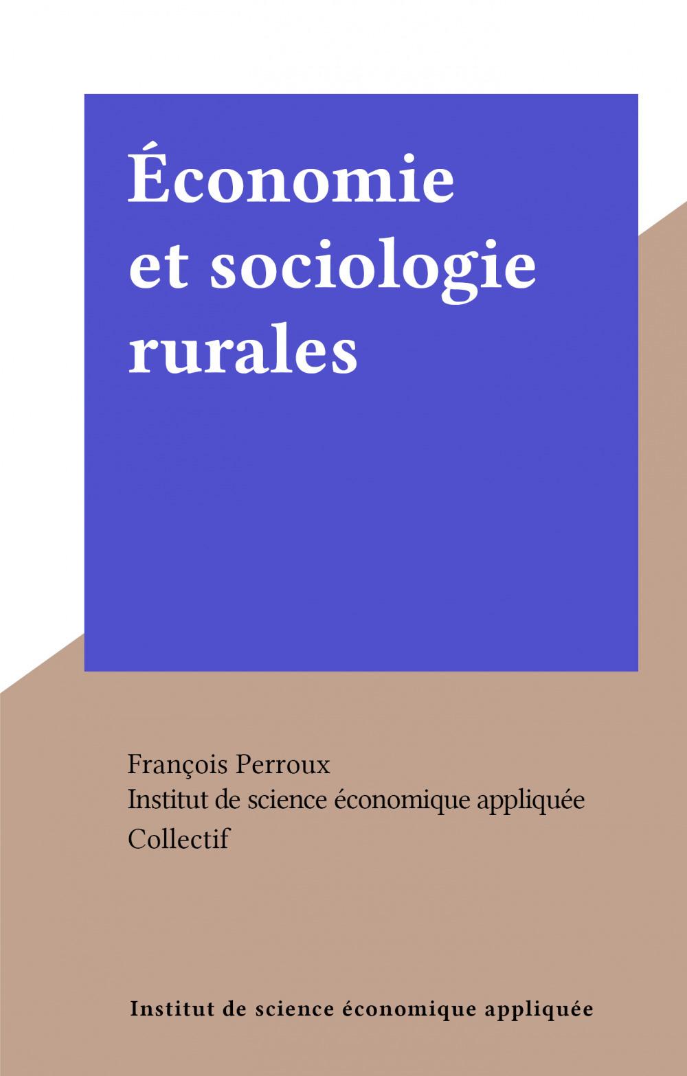 Économie et sociologie rurales