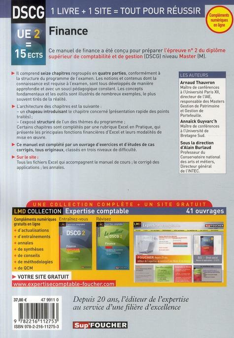 DSCG 2 ; finance ; master ; manuel (édition 2009/2010)