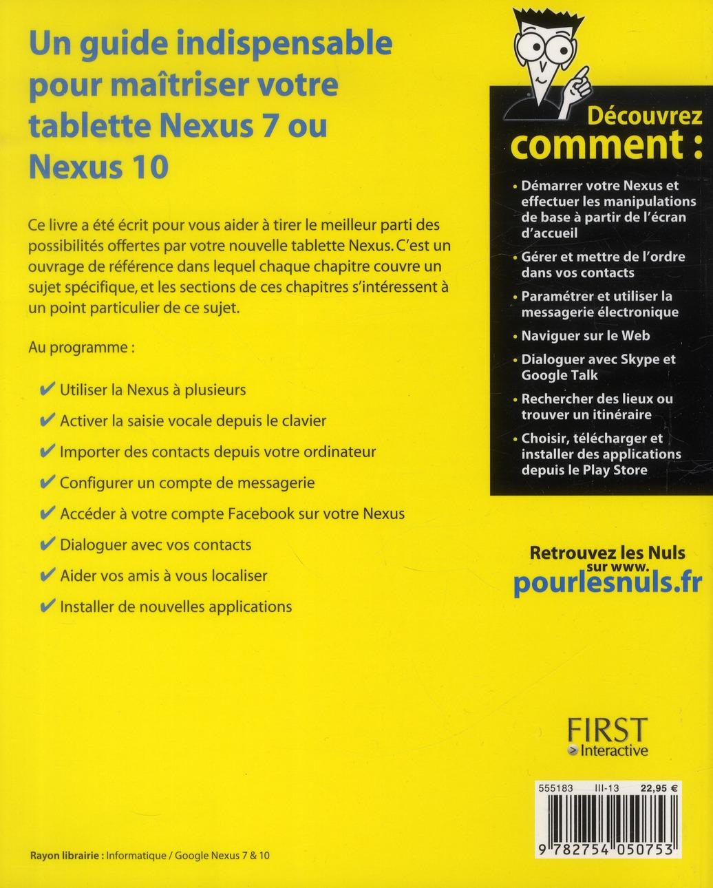 tablette Google Nexus 7 & 10 pour les nuls