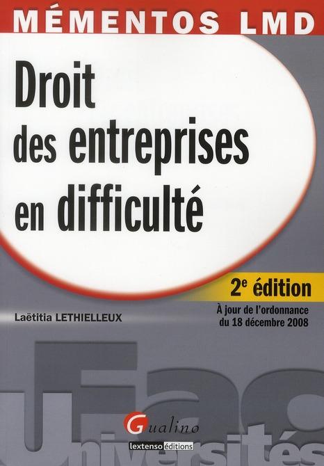 Droit des entreprises en difficulté (2e édition)