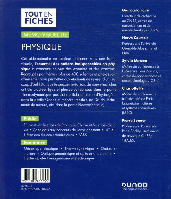 Mémo visuel de physique ; tout en fiches (2e édition)