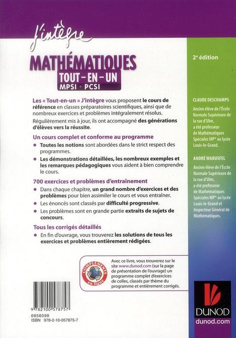 Mathématiques ; MPSI, PCSI ; tout-en-un (2e édition)