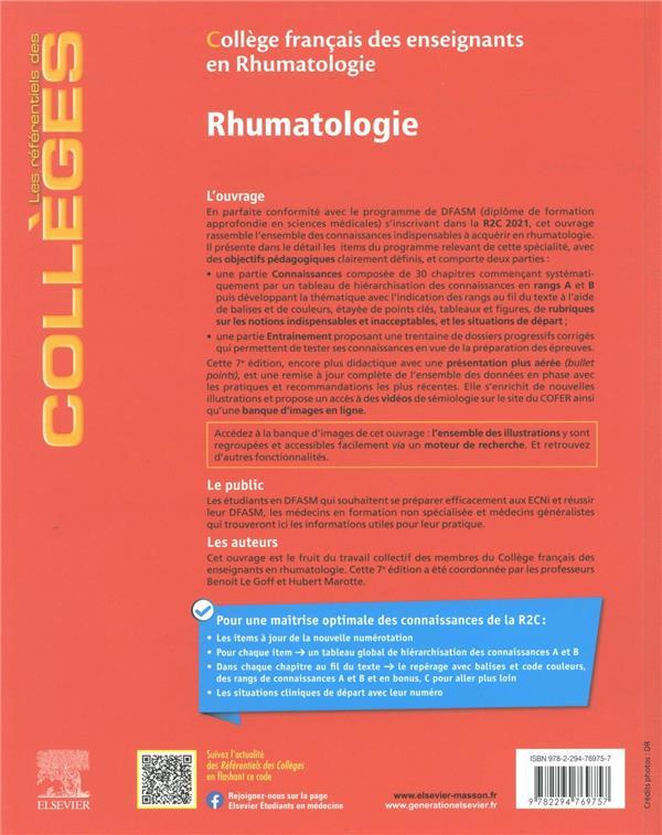 Rhumatologie : réussir son DFASM ; les connaissances clés + entraînements corrigés (7e édition)