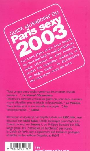 Le guide du paris sexy (édition 2003)