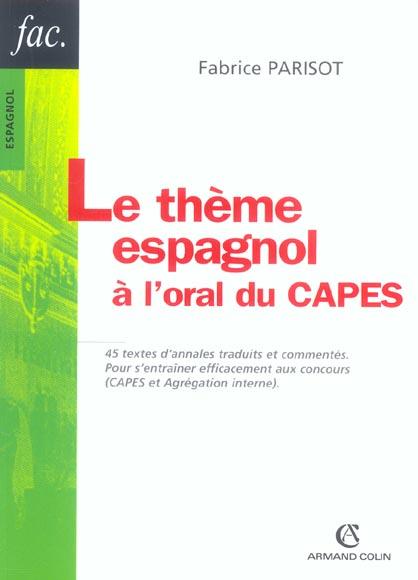 Le Theme Espagnol A L'Oral Du Capes
