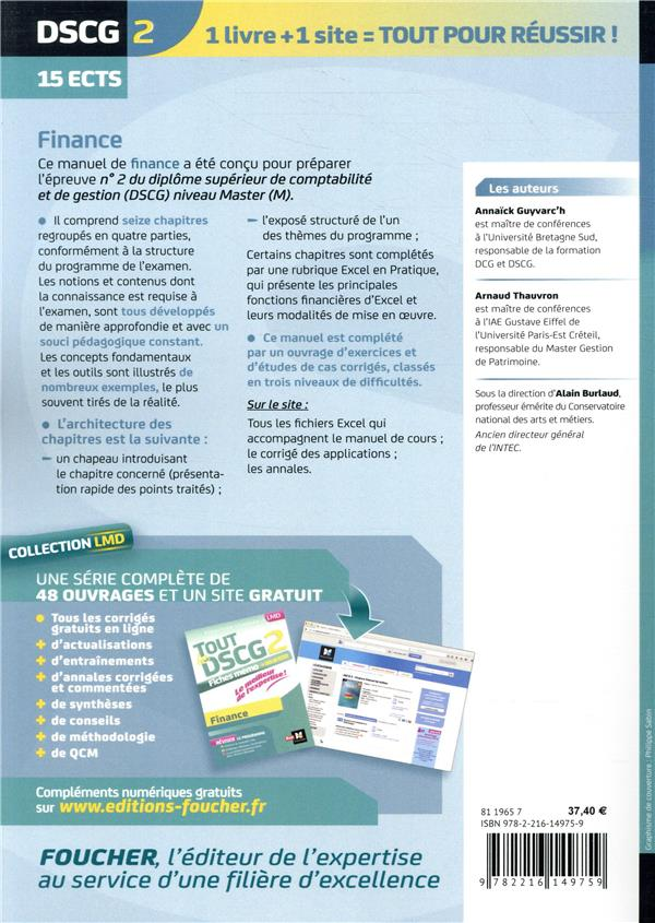 DSCG 2 finance ; manuel ; préparation complète (8e édition)