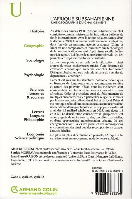 L'Afrique subsaharienne ; une géographie du changement (3e édition)