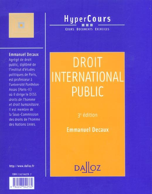Droit international public ; 3e edition