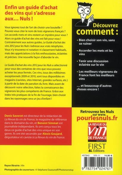 Guide d'achat des vins pour les nuls (édition 2012)