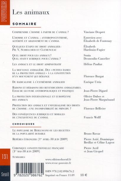 REVUE POUVOIRS T.131 ; les animaux