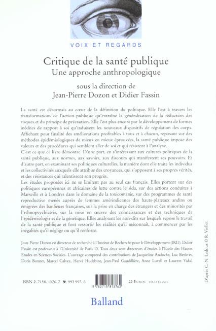 critique de la sante publique ; une approche anthropologique