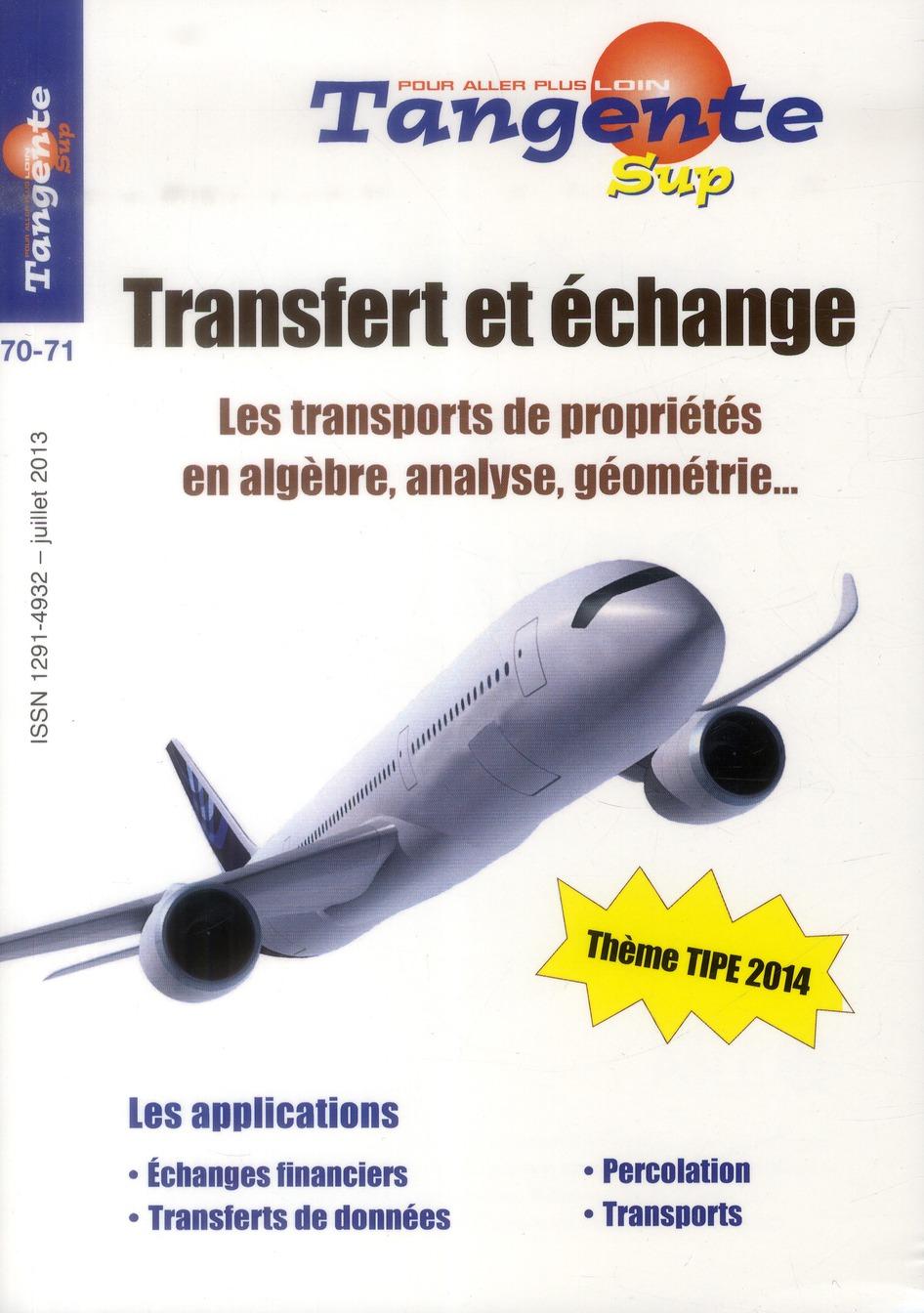 Transfert et échange ; les transports de propriétés en algèbre, analyse, géométrie…  ; thème TIPE 2014