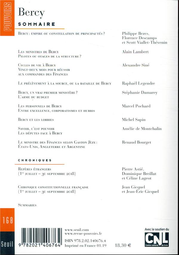 REVUE POUVOIRS n.168 ; Bercy