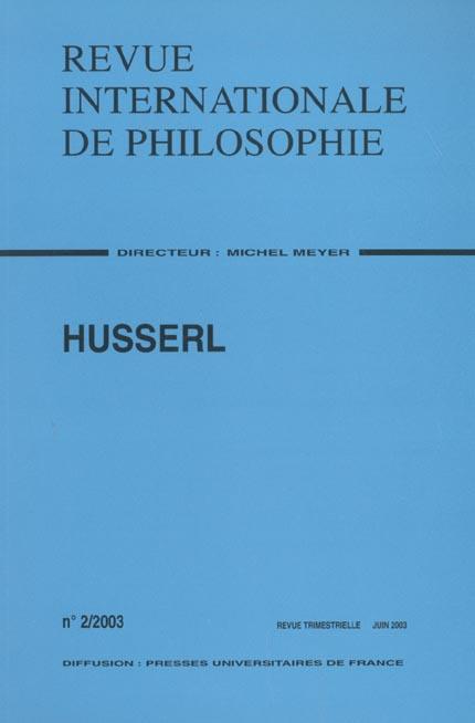Revue internationale de philosophie t.224; husserl
