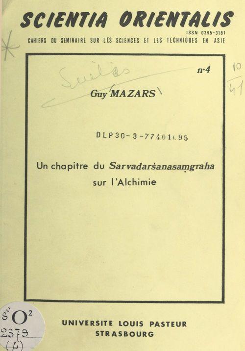 Vente EBooks : Un chapitre du Sarvadar´sanasamgraha sur l'alchimie  - Guy Mazars