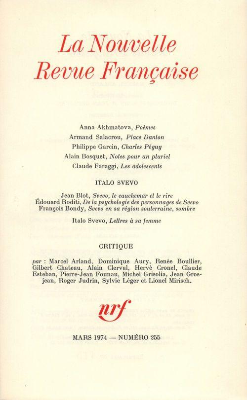 La Nouvelle Revue Française N° 255