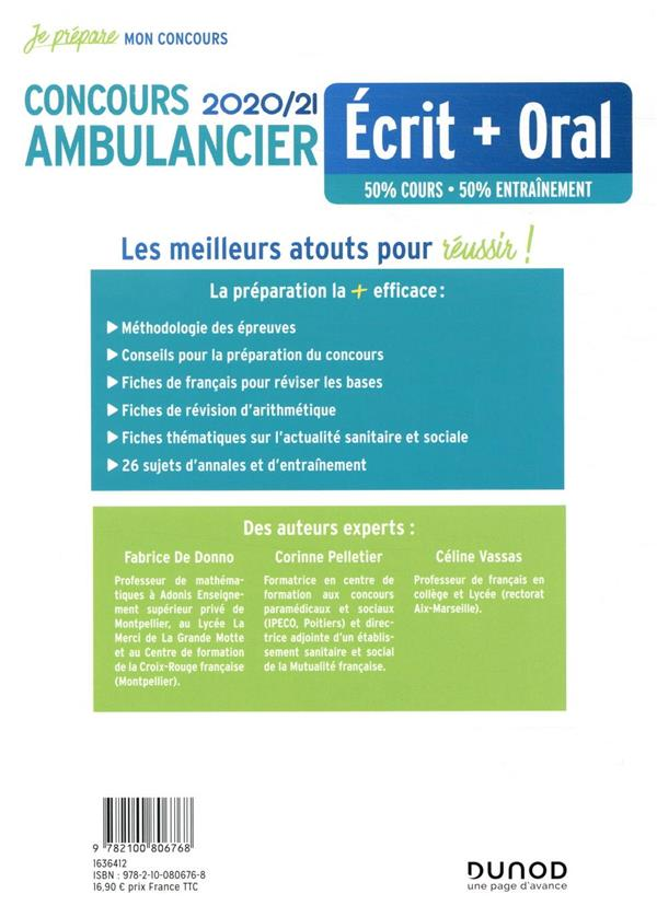 Je prépare ; concours ambulancier ; écrit + oral (édition 2020/2021)