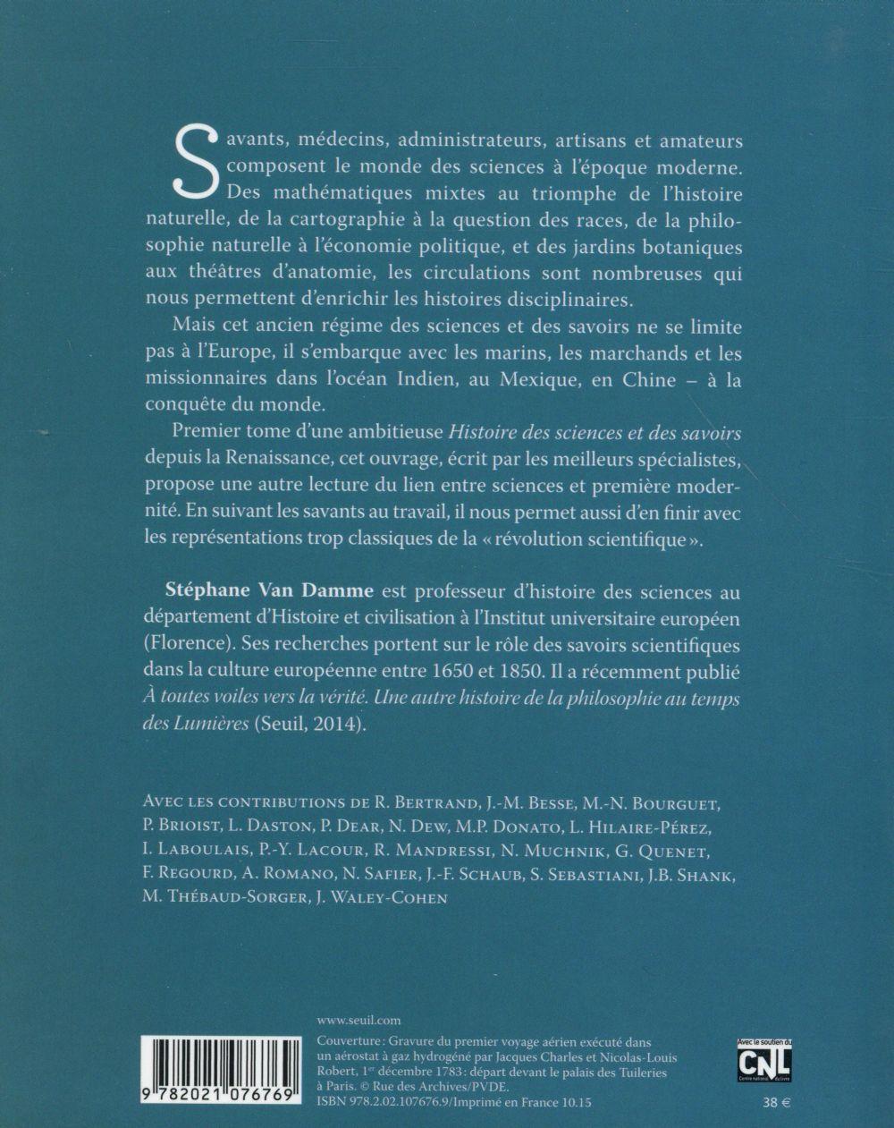 Histoire des sciences et des savoirs t.1 ; de la Renaissance aux lumières