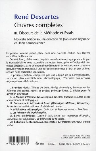le discours de la méthode t.3 ; oeuvres complètes