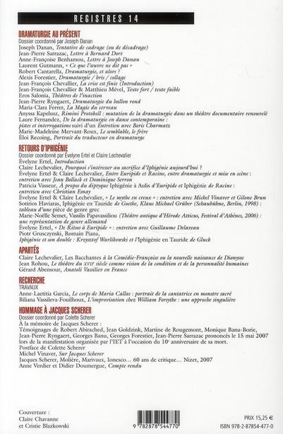 REVUE REGISTRES T.14 ; dramaturgie au présent