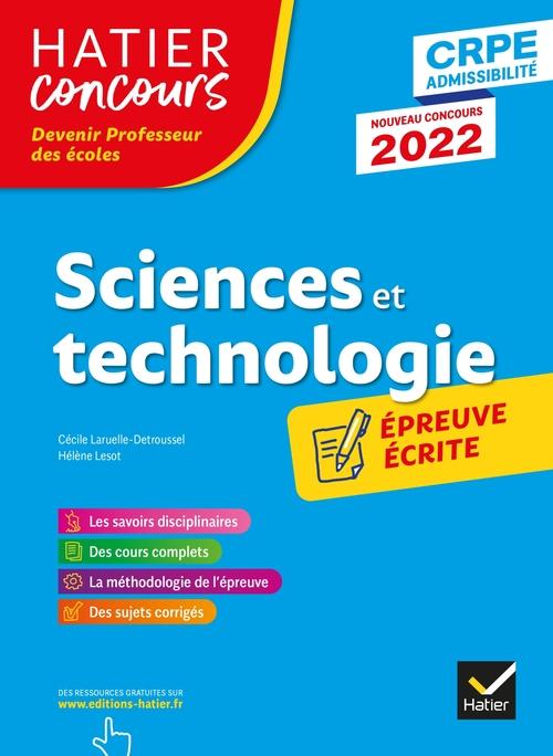 sciences et technologie ; CRPE ; épreuve écrite (édition 2022)