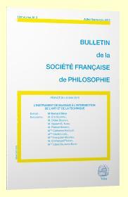BULLETIN DE LA SOCIETE FRANCAISE DE PHILOSOPHIE ; l'instrument de musique à l'intersection de l'art et de la technique