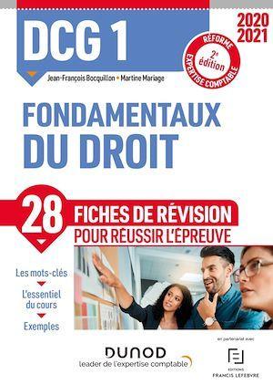 DCG 1 ; fondamentaux du droit ; 28 fiches de révision pour réussir l'épreuve (édition 2020/2021)