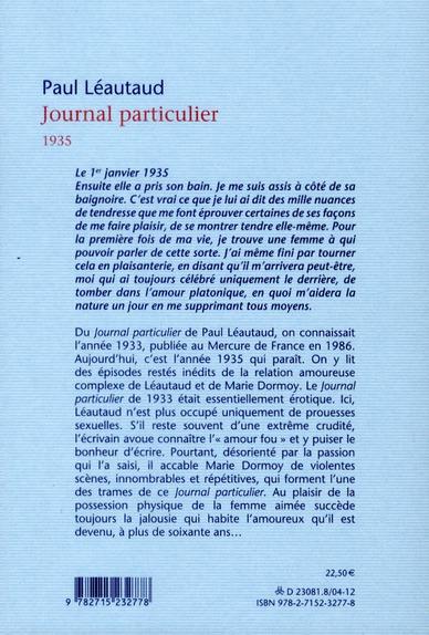 Journal particulier, 1935