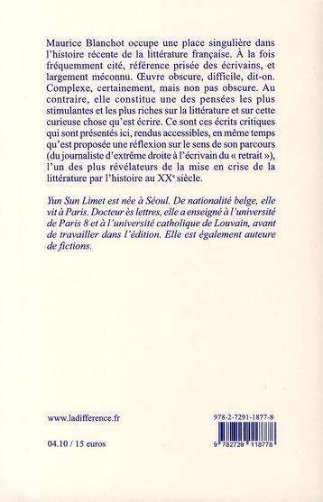 Maurice Blanchot ; critique