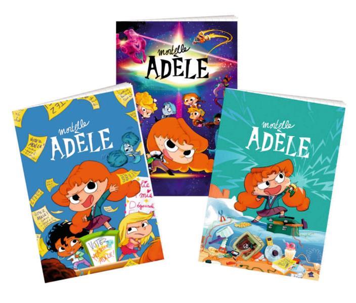 Mortelle Adèle ; lot de 3 cahiers rentrée 2021