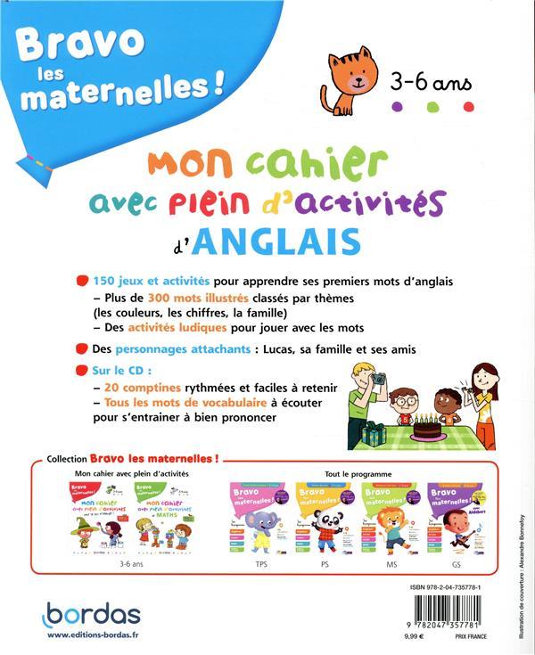 Bravo les maternelles ! ; mon cahier avec plein d'activités d'anglais ; 3/6 ans (édition 2019)
