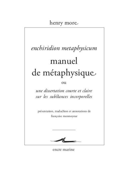 Manuel de métaphysique ou dissertation courte et claire sur les substances incorporelles